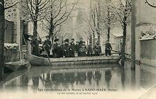 Inondations Marne à SAINT MAUR DES FOSSES La rue Labattu 26 Janvier 1910