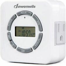 DEWENWILS Indoor Digital Outlet Light Timer 7 Day 24 Hour Programmable Plug in