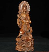 "8"" China Boxwood Dragon Hold Ru-yi Kwan-yin Guanyin Quan Yin Bodhisattva Statue"
