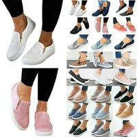 Women's Flats Sneakers Loafers Slip On Comfy Trainers Pumps Casual Shoes Size 10
