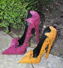 XL Schuh Metall Deko Garten gelb lila Landhaus Shabby Vintage High Heel