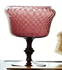 Art Glass Pedestal Bowl Diamond Optic Hand Blown Purple Amethyst Dish MCM