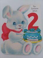 1960s Vtg GLITTER Bunny JEWEL Eyes NORCROSS Dbl Side 2nd BIRTHDAY GREETING CARD