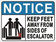 Keep Feet Away from Sides of Escalator Sign (Aluminium,Duble Sided Tape,White)