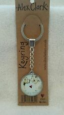 Alex Clark Westies  Key ring the image is in a clear 3cm diameter resin dome