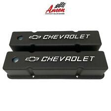 SBC Small Block Chevy Black Aluminum Valve Covers Camaro Z28 70-81 327-400