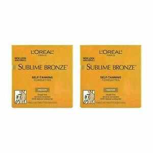 Pack of 2 L'Oreal Sublime Bronze Self-Tanning Single-use Towelettes 6ct each