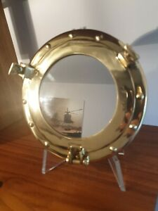 Vintage Round Brass Porthole Wall Mirror for Boat/Ship or Home.
