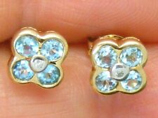 9ct Gold Blue Topaz & Diamond daisy cluster earrings
