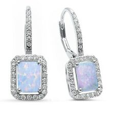 Radiant Shape White Opal & Cz .925 Sterling Silver Earrings