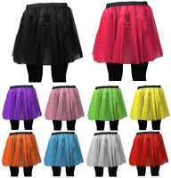 LONG NET NEON UV TUTU SKIRT 80s HEN FLO FANCY DRESS HALLOWEEN PARTY 8-14 & 16-26