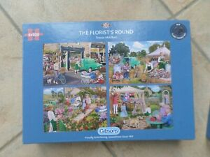 GIBSONS THE FLORISTS  ROUND 4 X 500 PIECE JIGSAWS COMPLETE