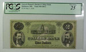 May 1 1878 $2 Dollar Obsolete Currency Eaton Burnett's Baltimore MD PCGS VF-25