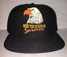 Vtg Only the Strong Survive trucker Snapback MADE IN USA hat cap EAGLE 3D harley
