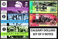 Canada / BC / Calgary POLYMER 5 Notes Set 1, 5, 10, 25 & 50 Dollars 2010 UNC