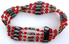 36 Inch Red Crystal Cloisonne Hematite Magnetic Wrap Bracelet Necklace m36ibn10