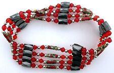 36 Inch Red Crystal Cloisonne Hematite Magnetic Wrap Bracelet Necklace m36ibn10