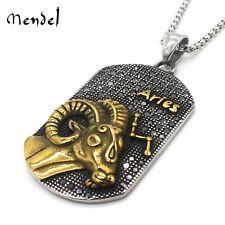 MENDEL Vintage Aries Zodiac Necklace Pendant constellation Gold Stainless Steel