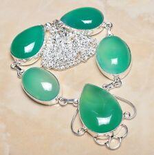 "Handmade Chrysoprase Jasper Gemstone 925 Sterling Silver Necklace 19.5"" #N00310"