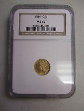 1889 $1 DOLLAR INDIAN PRINCESS  GOLD COIN NGC MS 67