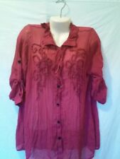 VINTAGE EVERCUBE BUTTON UP RUFFLE FRONT MAROON BLOUSE SIZE xL