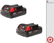 New Two Milwaukee M18™ REDLITHIUM™ 2.0 Compact Battery Pack (48-11-1822)