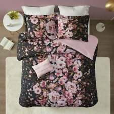 New ~ Cozy Chic Elegant Soft Pink Purple Black Flower Girl Cottage Comforter Set