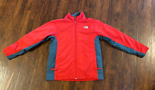 The North Face Jacket fleece lined boys size Large 14-16  Red, Gray.