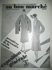 PUBLICITE DE PRESSE AU BON MARCHé MAGASIN AMEUBLEMENT EXPOSITION GENERALE 1926