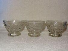 3 Vintage Pressed Glass Decorative Custard Desert Bowls- Made in USA