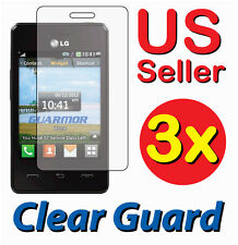 3x LG 840G LG840G Tracfone Clear LCD Screen Protector Guard Shield Cover Film
