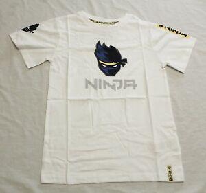 Character.com Boy's Short Sleeve Ninja T-Shirt SV3 White Size 9-10Y
