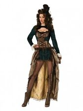 STEAMPUNK MADAME MEDIEVAL CORSET ADULT FANCY DRESS COSTUME ONE SIZE