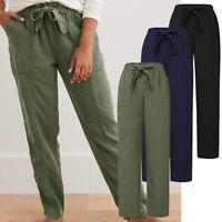 ZANZEA Femme Loisir Décontracté lâche Taille elastique Poche Ample Pantalon Plus