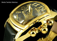 NEW Invicta Dragon Lupah SWISS Quartz Chronograph Black & GoldTone Leather Watch