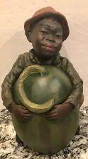 ~FABULOUS~NARDY TOBACCO JAR~BLACK MAN WITH WATERMELON~FIGURAL~1880'S~SO RARE!