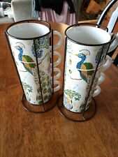 2 Sets of 4 Pier One Imports Peacock Stacking MUGS Coffee CUPS w/RACKS EUC