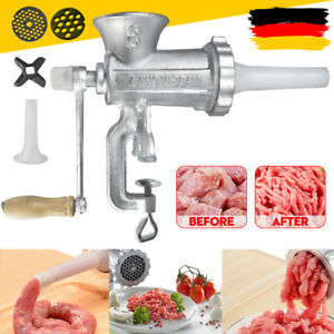 DE Fleischwolf Manuell Wurstmaschine Handkurbel Hackfleisch Wurstfüller 3 Größen
