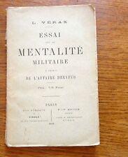 Affaire Dreyfus ESSAI SUR LA MENTALITE MILITAIRE   1898