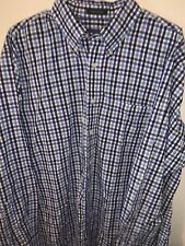 PENDLETON Button Front Shirt 100% Cotton Blue Plaid Long Sleeve Mens XL B4