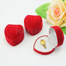 3X Fashion Nice Velvet Heart Ring Show Display Box Storage Gift Package Case Red