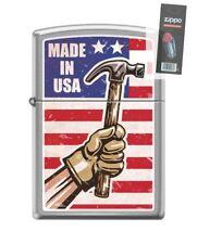 Zippo 200 Made In USA Hammer RARE Lighter + FLINT PACK