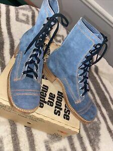 Blue Suede Orange Stitch Square Toe Lace Up Boots NOS NIB Size 8D Unbranded Vtg