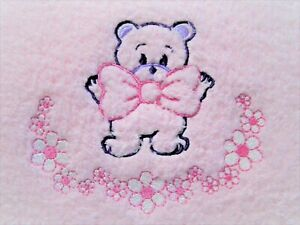 Bow Bear with Flowers Pink Brushed Fleece Baby Blanket  Oh So Soft.