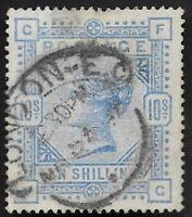1884 QV SG183 10s Ultramarine FG High Value Very Fine Used CV £525