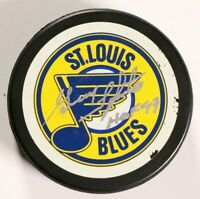 St. Louis Blues Guy Lapointe Signed Autographed Puck Hall of Fame Inscription