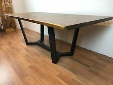 Live Edge American Black walnut dining table top slab and trestle metal base
