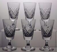 TUDOR CRYSTAL CUT GLASS SHERRY PORT GLASSES SET OF 6