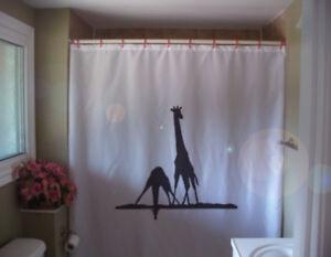 giraffe pair bath Shower Curtain drink water river in Africa African safari wild