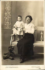 Morley Studio Photo. Lady, Child & Teddy Bear by T.A.Stephenson, South Queen St.